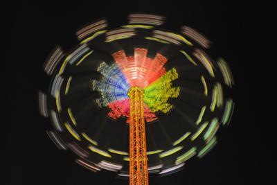 Germany, Bavaria, Munich, Theresienwiese Oktoberfest, Star Flyer Carousel, Night by Udo Siebig
