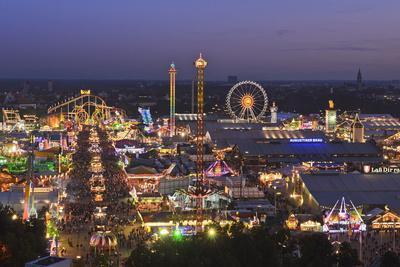 Germany, Bavaria, Munich, Theresienwiese Oktoberfest, View of St Paul's Church, Evening