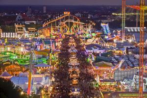 Germany, Bavaria, Munich, Theresienwiese Oktoberfest, View of St Paul's Church, Evening by Udo Siebig