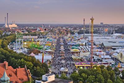 Germany, Bavaria, Munich, Theresienwiese Oktoberfest, View of St. Paul's Church