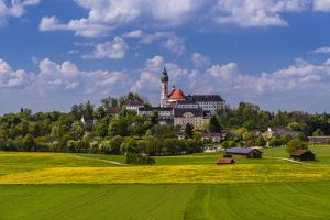 Germany, Bavaria, Upper Bavaria, F?nfseenland, Andechs, Spring Scenery with Cloister of Andechs by Udo Siebig