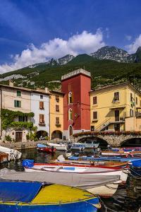 Italy, Veneto, Lake Garda, Cassone Di Malcesine, Harbour Against Monte Baldo by Udo Siebig