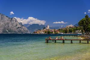 Italy, Veneto, Lake Garda, Malcesine, Townscape with Scaliger Castle by Udo Siebig