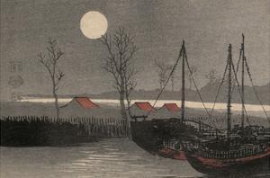 Sailboats Moored under the Moon. by Uehara Konen