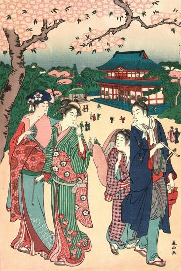 Ueno No Hanami, Cherry Blossom Viewing at Ueno-Katsukawa Shunzan-Giclee Print