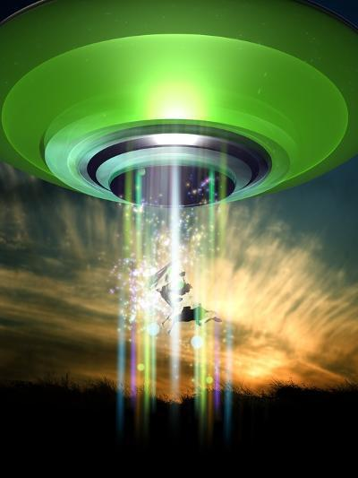 UFO Cattle Abduction, Conceptual Artwork-Victor Habbick-Photographic Print