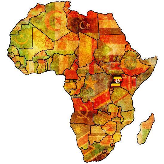 Uganda On Actual Map Of Africa Art Print By Michal812 Art Com