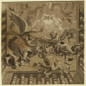 Ceiling with Three Angels, Between Ca. 1515 and 1535 by Ugo da Carpi