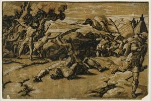 David Slaying Goliath, C. 1518 by Ugo da Carpi