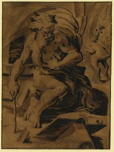 Diogenes with the Featherless Cock, Between 1500 and 1530 by Ugo da Carpi