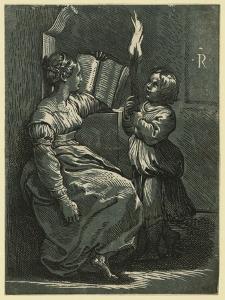 Sibyl Reading a Book by Ugo da Carpi