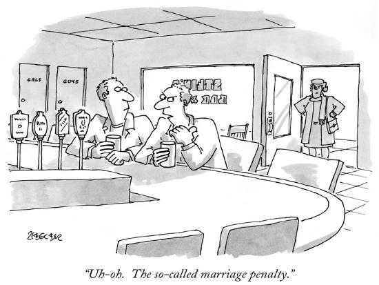 """""""Uh-oh.  The so-called marriage penalty."""" - New Yorker Cartoon-Jack Ziegler-Premium Giclee Print"""