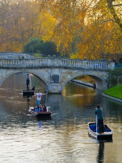 UK, England, Cambridge, the Backs, Clare and King's College Bridges over River Cam in Autumn-Alan Copson-Photographic Print