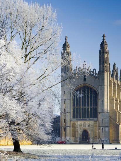 UK, England, Cambridgeshire, Cambridge, the Backs, King's College Chapel in Winter-Alan Copson-Photographic Print