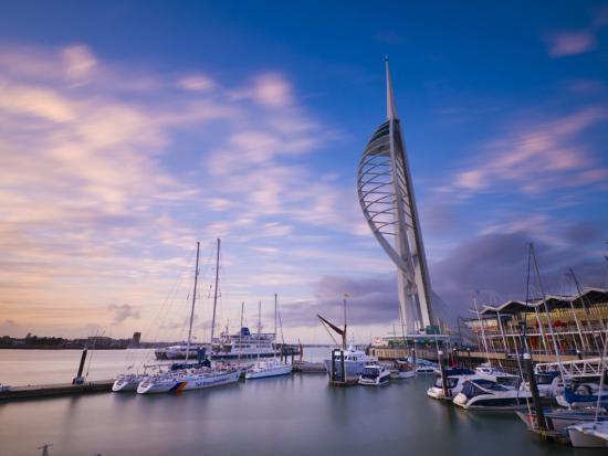 UK, England, Hampshire, Portsmouth, Gunwharf Marina, Spinnaker Tower-Alan Copson-Photographic Print