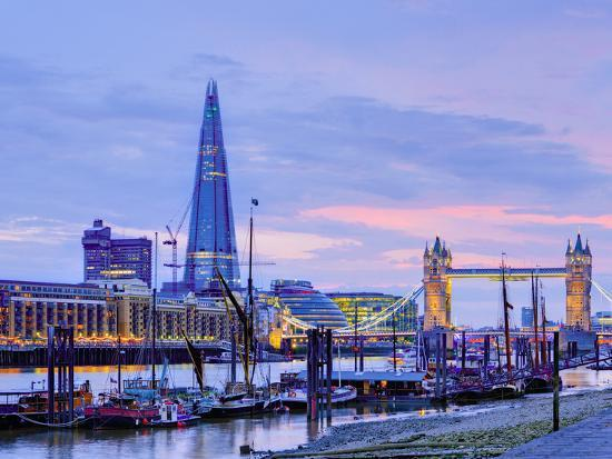 UK, England, London, River Thames, the Shard and Tower Bridge-Alan Copson-Photographic Print