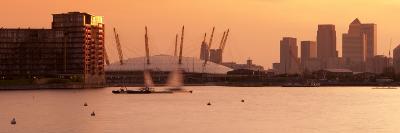 Uk, England, London, Royal Victoria Dock, Canary Wharf Skyline and O2 Arena (Millennium Dome)-Alan Copson-Photographic Print