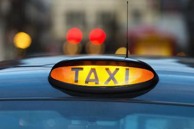 Uk, England, London, Sign on Taxi Cab-Tetra Images-Photographic Print