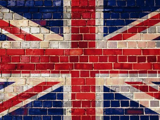 Uk Flag On A Brick Wall Background-Steve18-Art Print