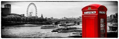 UK Landscape - Red Telephone Booth and River Thames - London - UK - England - United Kingdom-Philippe Hugonnard-Photographic Print