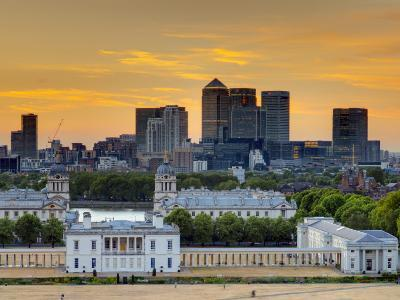 Uk, London, Greenwich, Greenwich Park, National Maritime Musuem and Canary Wharf-Alan Copson-Photographic Print
