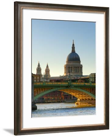 Uk, London, St; Paul's Cathedral and Canon Street Railway Bridge across River Thames from Southwark-Alan Copson-Framed Photographic Print