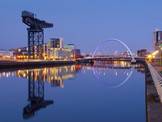 UK, Scotland, Glasgow, River Clyde, Finnieston Crane and the Clyde Arc, Nicknamed the Squinty Bridg-Alan Copson-Photographic Print