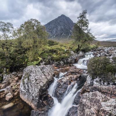 UK, Scotland, Highland, Glen Coe, River Coupall, Coupall Falls and Buachaille Etive Mor-Alan Copson-Photographic Print