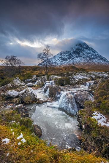 UK, Scotland, Highland, Glen Coe, River Coupall, Coupall Falls and Buachaille Etive Mor-Alan Copson-Photographic Print