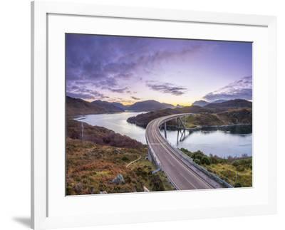 UK, Scotland, Highland, Sutherland, Loch a' Chairn Bhain, Kylesku, Kylesku Bridge, a landmark on th-Alan Copson-Framed Photographic Print