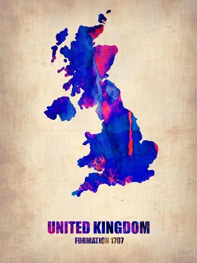 UK Watercolor Poster-NaxArt-Art Print