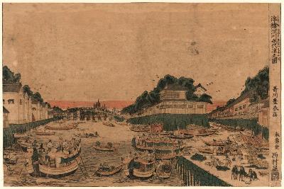 Ukie Fukagawa Eitai Suzumi No Zu-Utagawa Toyoharu-Giclee Print