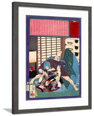Ukiyo-E Newspaper: a Dumped Husband Killed His Wife-Yoshitoshi Tsukioka-Framed Giclee Print