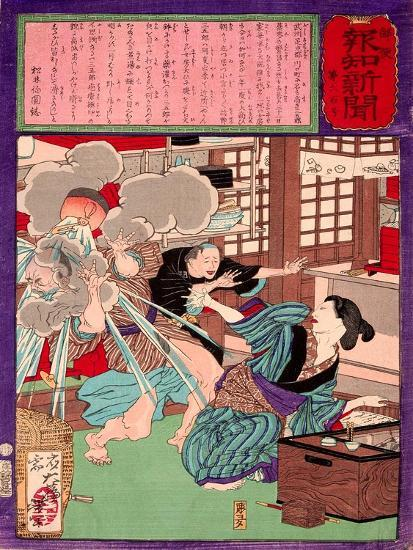 Ukiyo-E Newspaper: a Noodle Shop Wife Throw a Boiling Pot to Her Husband-Yoshitoshi Tsukioka-Giclee Print