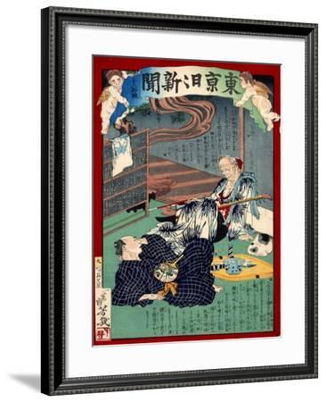 Ukiyo-E Newspaper: Lovesick of 87 Years Old Foster Mother at Noodle Shop-Yoshiiku Ochiai-Framed Giclee Print