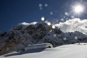 A Hiker Approaches the Franzedaz Mountain Hut, by Monte Fop and Cime D'Auta Near Marmolada Glacier by Ulla Lohmann