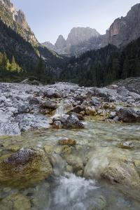 A River Streams over Rocks in Val Canali by Ulla Lohmann