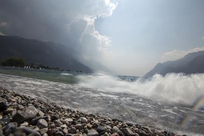 A Storm Approaches the Beach in Riva Del Garda, Lago Di Garda, Trentino, Italy