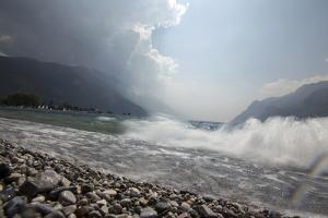 A Storm Approaches the Beach in Riva Del Garda, Lago Di Garda, Trentino, Italy by Ulla Lohmann