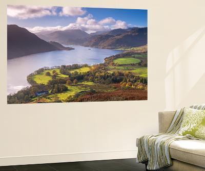 Ullswater from Gowbarrow Fell, Lake District National Park, Cumbria, England. Autumn-Adam Burton-Wall Mural