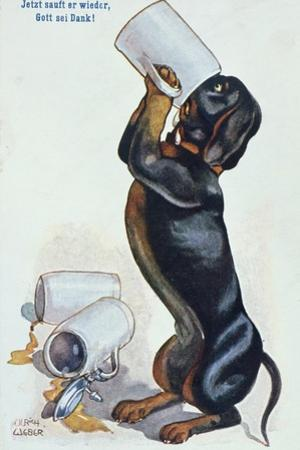 A Dachshund Drinking Beer, c.1900 by Ulrich Weber