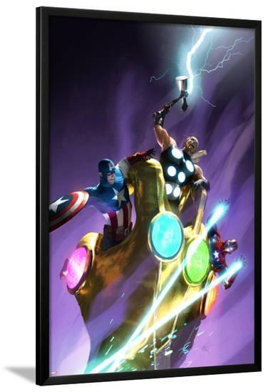 Ultimate Comics Ultimates #25 Cover: Captain America, Thor, Iron Man-Michael Komarck-Lamina Framed Poster