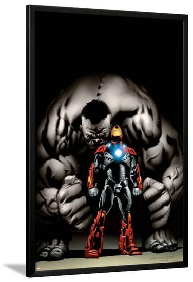 Ultimate Human No.4 Cover: Iron Man and Hulk-Cary Nord-Lamina Framed Poster