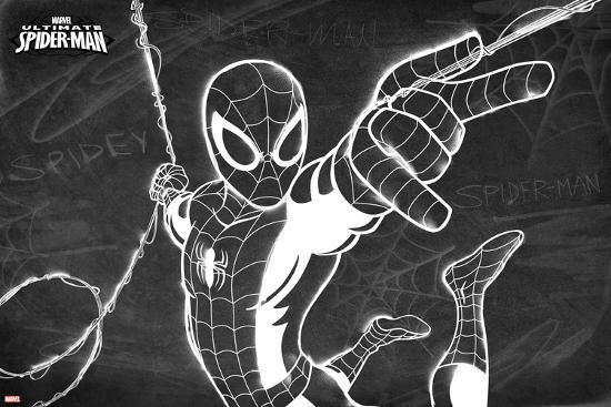 Ultimate Spider-Man Chalkboard--Art Print