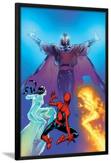 Ultimate Spider-Man No.119 Cover: Spider-Man, Firestar, Iceman and Magneto-Stuart Immonen-Lamina Framed Poster