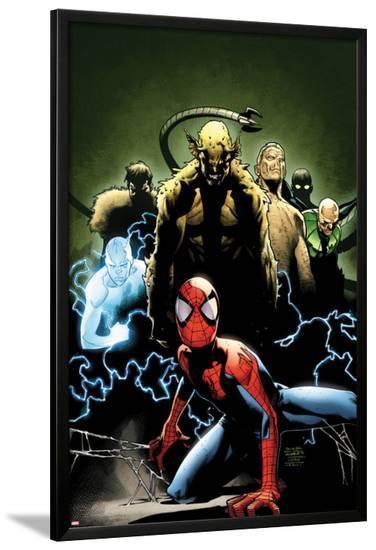 Ultimate Spider-Man No.155 Cover: Spider-Man, Green Goblin, Sandman, Electro, and Vulture-Olivier Coipel-Lamina Framed Poster