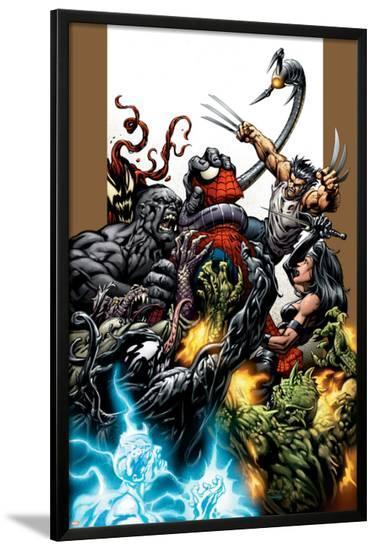 Ultimate Spider-Man No.71 Cover: Spider-Man, Wolverine, Green Goblin and Hulk-Mark Bagley-Lamina Framed Poster
