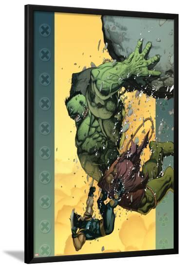 Ultimate Wolverine vs. Hulk No.6 Cover: Hulk and Wolverine-Leinil Francis Yu-Lamina Framed Poster