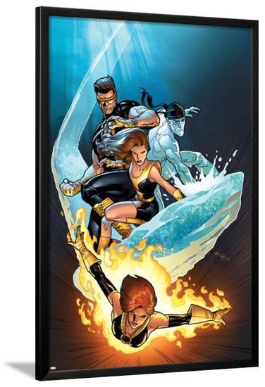 Ultimate X-Men No.57 Cover: Grey, Jean, Iceman, Cyclops and Shadowcat Fighting--Lamina Framed Poster