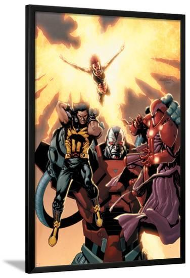 Ultimate X-Men No.93 Cover: Wolverine, Phoenix, Apocalypse and Onslaught-Salvador Larroca-Lamina Framed Poster